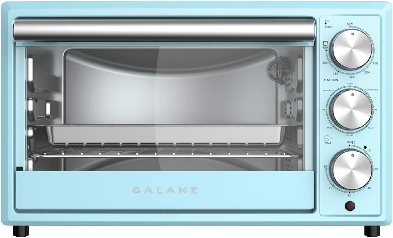 Galanz GRH1209BERM151 Retro Toaster Oven, True Convection, Indicator Light, 8 Cooking Programs, 1500W/120Volts, 0.9 Cu.Ft Capacity, Bebop Blue, Cu. Ft
