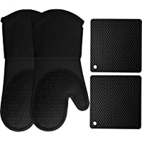 HOMWE Silicone Oven Mitts and Pot Holders, 4-Piece Set, Heavy Duty Cooking Gloves, Kitchen Counter Safe Trivet Mats…
