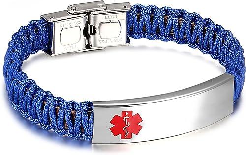 Adjustable JF.JEWELRY Handmade Multicolor Nylon Rope Braided Medical Alert ID Bracelet for Kids Boys and Girls