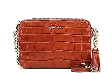27902e7c5c2f Michael Kors Ginny Tasseled Crocodile-Embossed Chain Cross-Body Bag ...