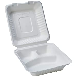 "AmazonBasics Compostable 3-Compartment Clamshell Hinged Food Container, 8"" x 8"" x 3"", Pack of 25"
