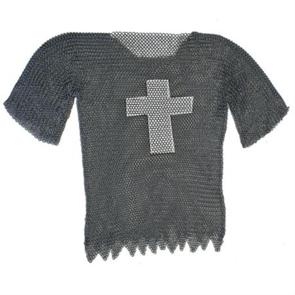 Blackened Order Of The Dark Knight's Templar Cross Haubergeon Chain Mail Extra Large XL Armor Shirt
