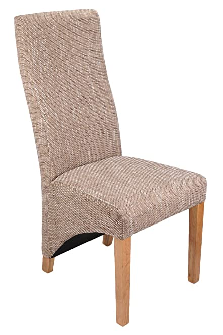 Shankar Baxter Tweed Effect Oatmeal Upholstered Dining Chairs Set - Upholstered dining chairs uk