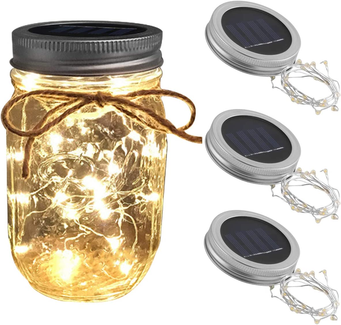 Solar Mason Jar Lights, 3 Pack 20 LEDs Hanging Solar Lanterns Garden Decor Outdoor Lights, Waterproof String Fairy Star Firefly Jar Lids Lights for Patio Wedding Christmas Party Warm White