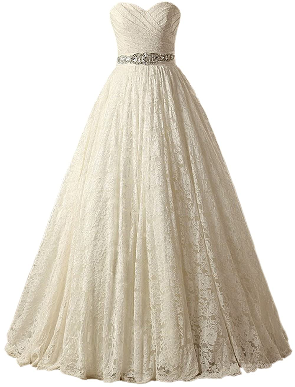 5b2b6708 SOLOVEDRESS Women's Ball Gown Lace Princess Wedding Dress 2017 Sash Beaded  Bridal Evening Gown at Amazon Women's Clothing store: