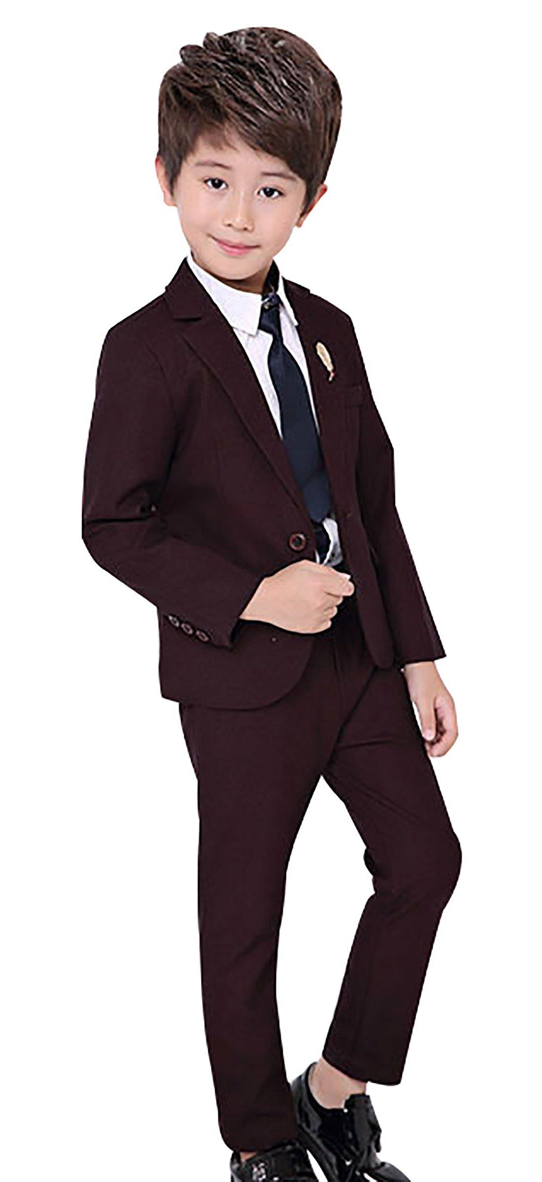 Boy Dress Tuxedo Suits Set 3 Pcs children Costumes Formal Wedding Suit Set For Party Show Dinner Red Wine 4T 110
