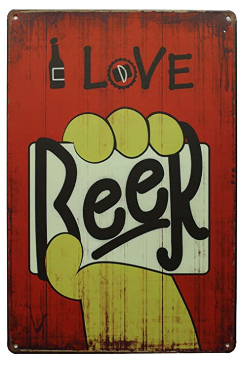 Sumik I Love Cerveza, Metal Lata Cartel Vintage Arte Placa ...
