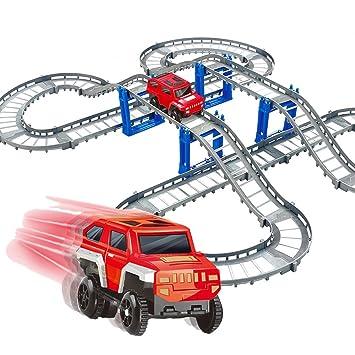 Pistas de carreras de coches Juego de riel flexible plegable Riel de construcción de reemplazo con