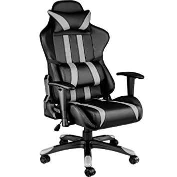 TecTake Silla de oficina ergonomica racing gaming con soporte lumbar - disponible en diferentes colores - (negro gris | no. 402231)