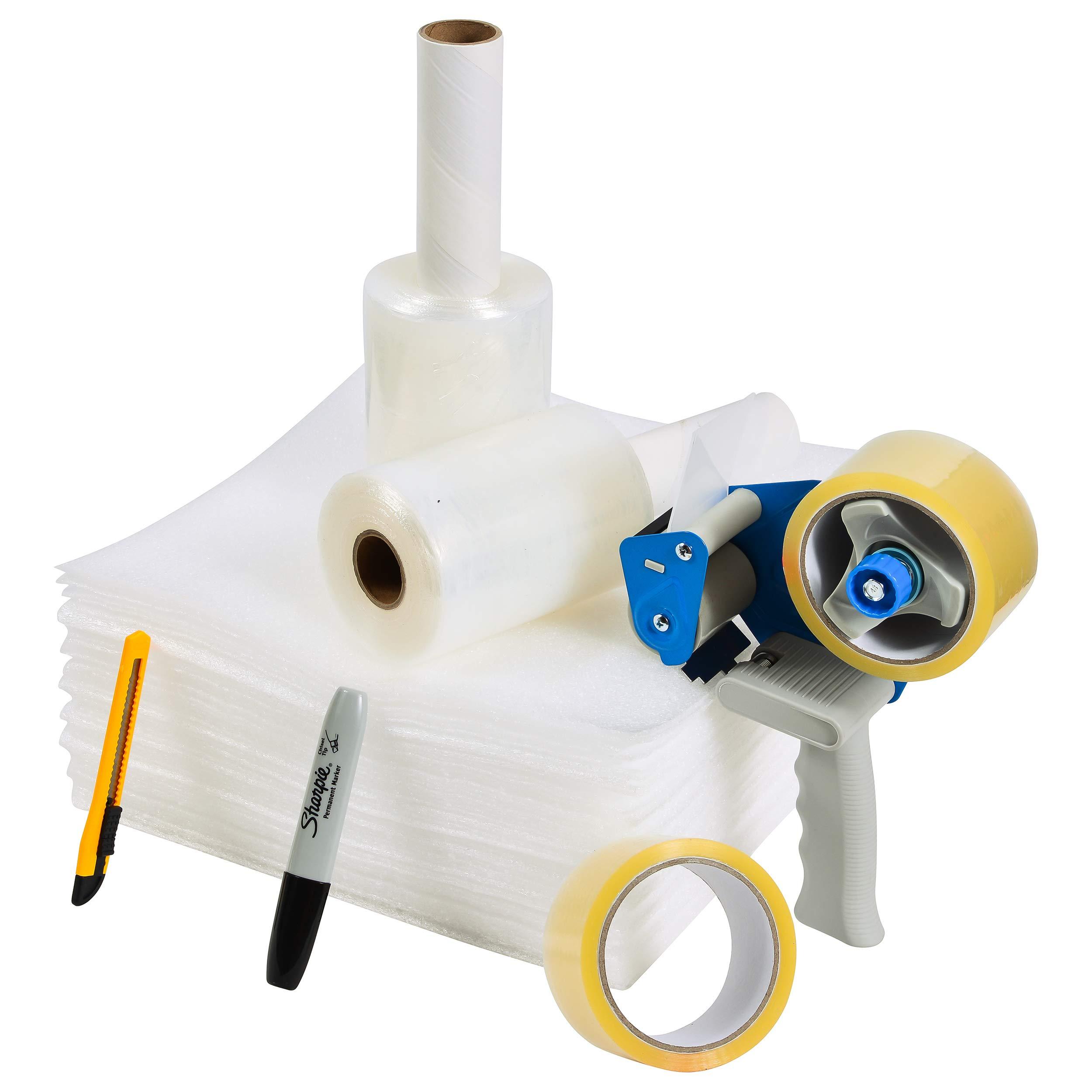 BFO Industries Moving Kit - Tape Gun, 2 Tape Rolls, 50 Foam Sheets, Film Wrap & Box Cutter