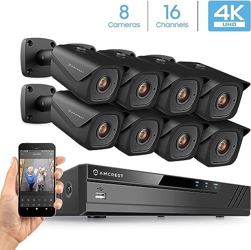 Amcrest 4K Security Camera System w 4K 16CH 8-Port PoE NVR, 8 x 4K 8-Megapixel IP67 Weatherproof Metal Bullet POE IP Cameras 3840×2160 , 2.8mm Wide Angle Lens, NV4116E-HS-IP8M-2496EB8 Black