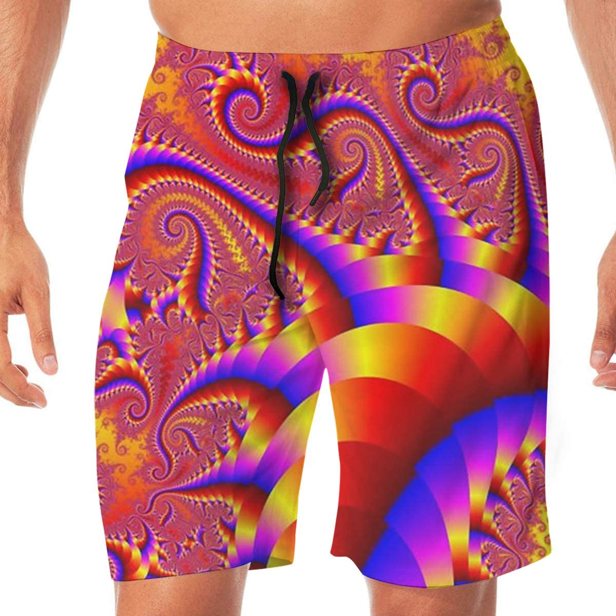 MaoYTUI Red Psychedelic Trippy Art Mens Swim Trunks Boys Quick Dry Bathing Suits Drawstring Waist Beach Broad Shorts Swim Suit Beachwear with Mesh Lining