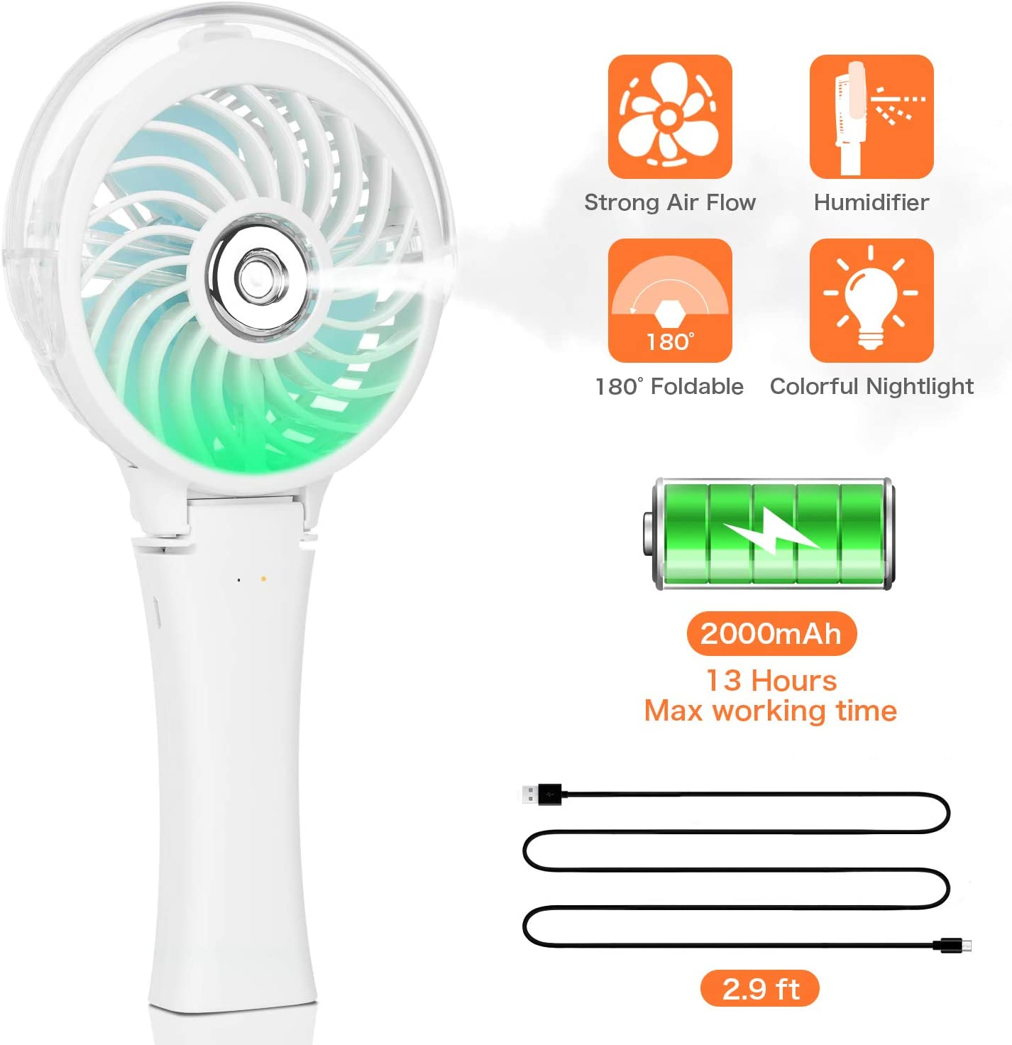 Handheld Misting Fan Portable Hand Fan-Mini Rechargeable Battery Operated Fan, Foldable Personal Travel Fan with Cooling Humidifier and Colorful Nightlight for Camping, Office, Outdoor (White)
