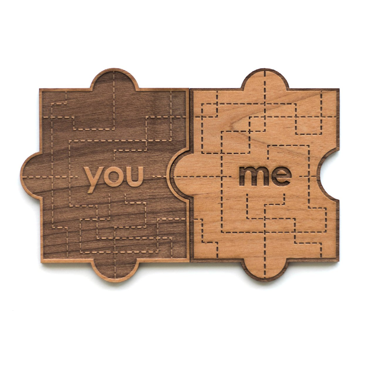 You & Me Puzzle Piece Wood Card (Love / 5 Year Anniversary / Boyfriend or Girlfriend / Valentine's Day)