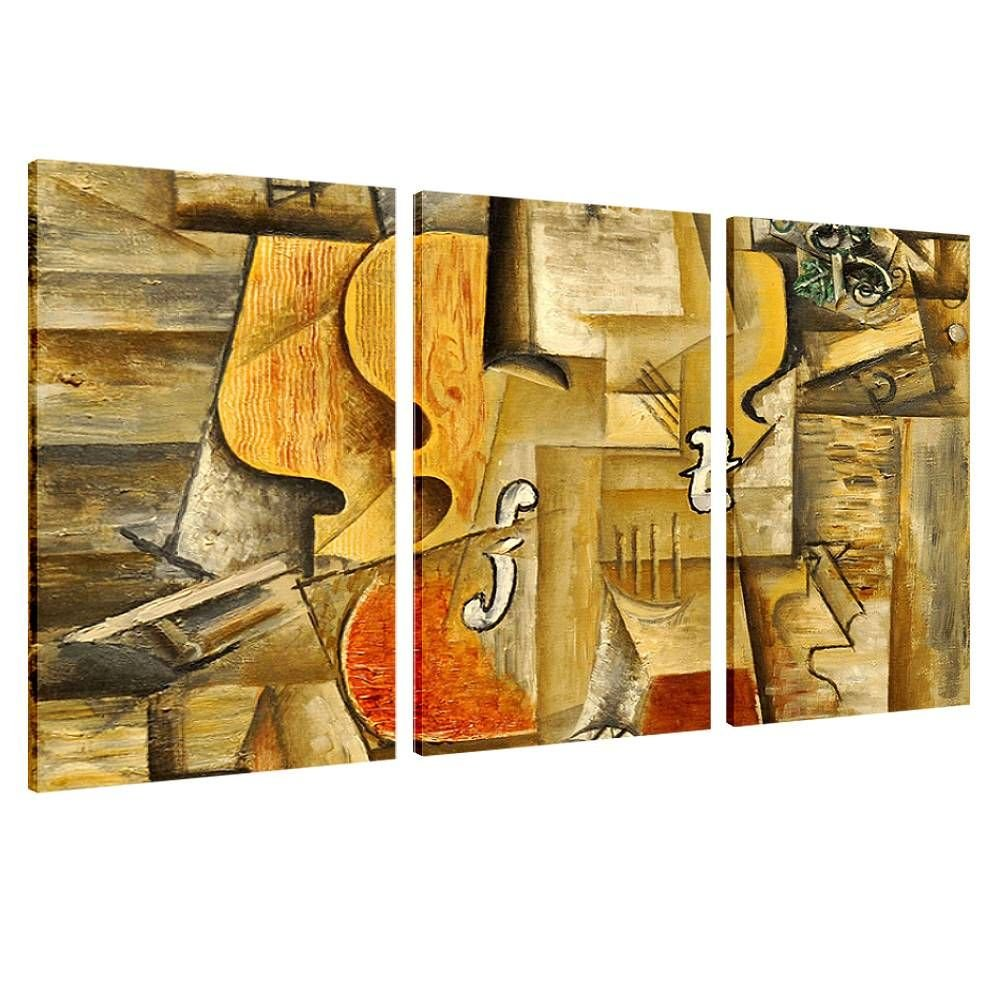 Alonline Art - Violin And Grapes by Pablo Picasso   framed stretched canvas on a ready to hang frame - 100% cotton - gallery wrapped   42''x28'' - 107x71cm   3 Panels split   Wall art home decor HD by Alonline Art