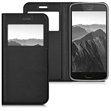 kwmobile Funda para Motorola Moto G5 Plus - Carcasa de [cuero sintético] con [ventana] - Case protector en [negro]