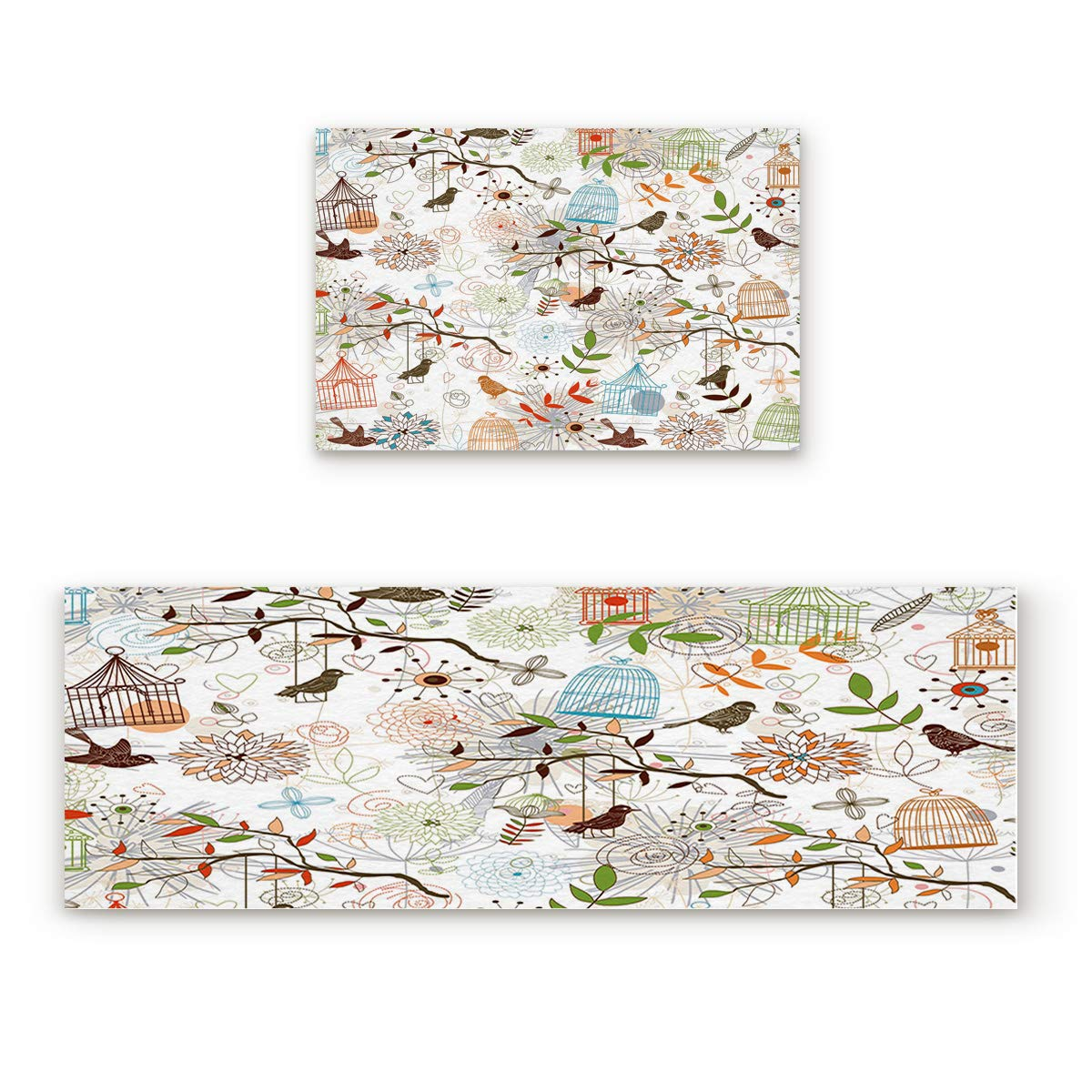 Bird1fiy3985 23.6x35.4In+23.6x70.9In Findamy Non-Slip Indoor Door Mat Entrance Rug Rectangle Absorbent Moisture Floor Carpet for Cartoon Artwork Birds Flowers Doormat 23.6x35.4In+23.6x70.9In