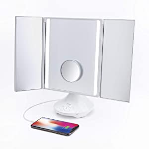 iHome Beauty REFLECT TRIFOLD Vanity Speaker with Bluetooth Audio, Hands-Free Speakerphone, LED Lighting, Siri and Google Support, and USB Charging