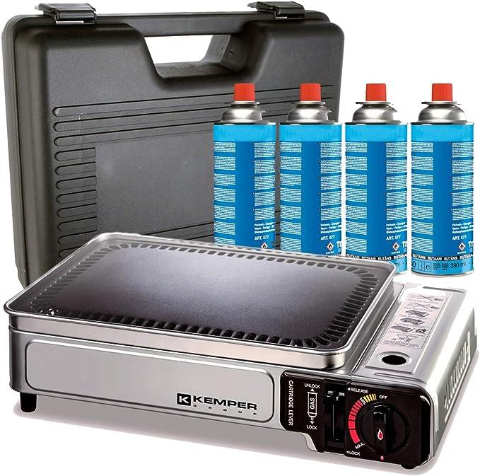 Plancha de gas portátil 2300 W Kemper placa antiadherente + 4 cartuchos de gas para camping