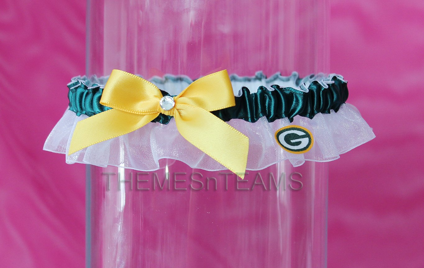 Customizable - Green Bay Packers fabric handmade into bridal prom organza wedding thin garter TNT