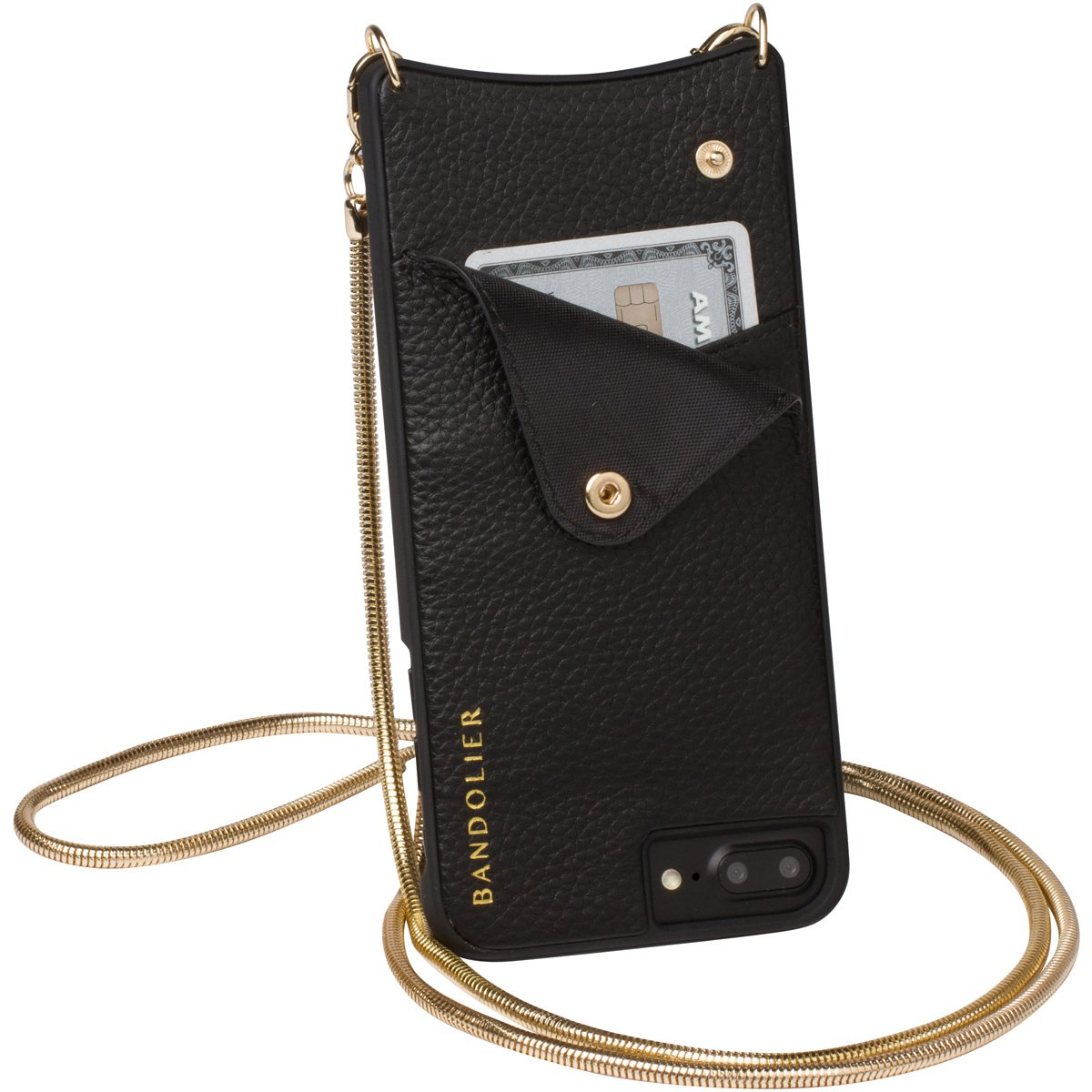 Bandolier [Belinda] Crossbody Phone Case and Wallet - Compatible with iPhone 8/7 / 6 - Black Leather with Gold Accent