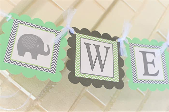 amazon com mint and gray welcome baby elephant baby shower banner