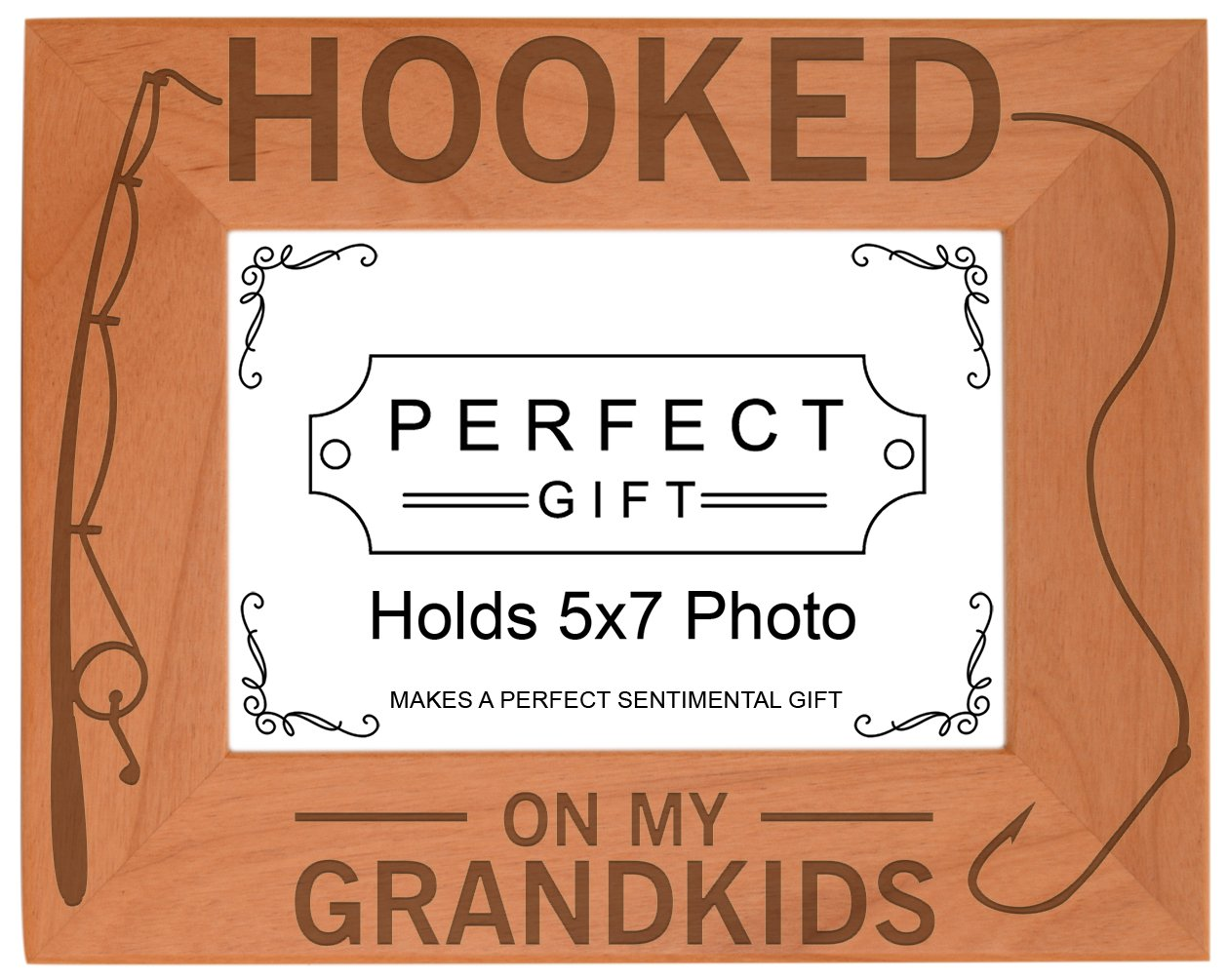 Gift for Grandpa Hooked On My Grandkids Natural Wood Engraved 5x7 Landscape Picture Frame Wood