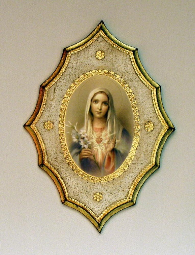 Immaculate Heart of Mary Florentine plaque with a white and gold trim, 7.5 x 10.5inches. Made in Italy