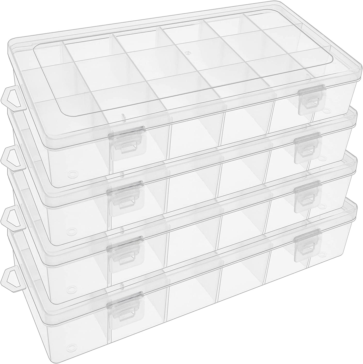 SGHUO 4 Pack 18 Grids Plastic Organizer Box Jewelry Container with Adjustable Dividers for Rock /& Mineral Collection Jewelry Beads Storage