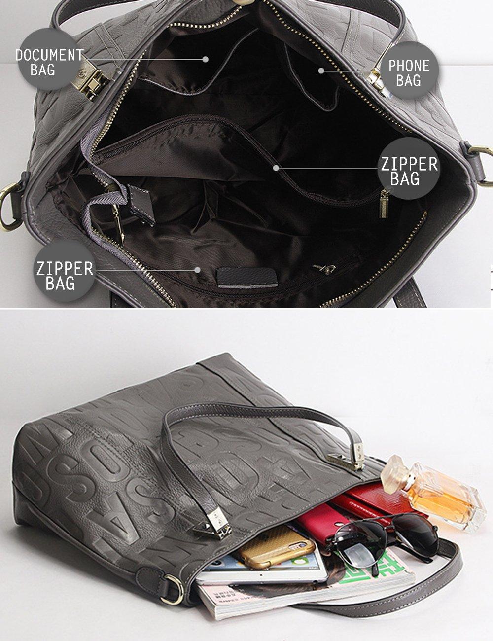 Menschwear Womens Genuine Leather Top Handle Satchel Bag Grey by Menschwear (Image #7)