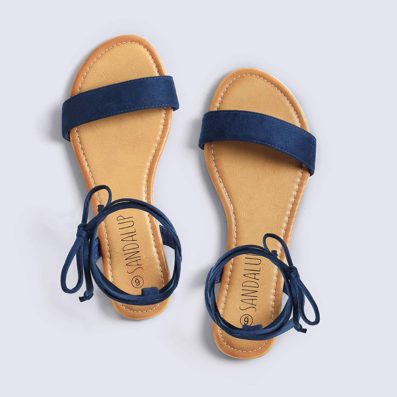 SANDALUP Sandales Plates avec lani/ères en Flanelle pour Femme