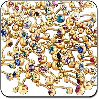 Paquete de 200 Piercings para el Ombligo, chapados en Oro: Amazon.es: Joyería
