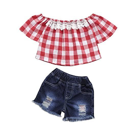 ae6c89e450f8 Sumen Toddler Girls Summer Outfits Infant Red Plaid Lace Patchwork T Shirt  + Denim Shorts (