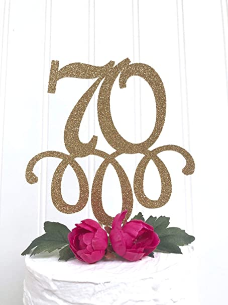 Decoración para tarta con purpurina 70 años de amor ...