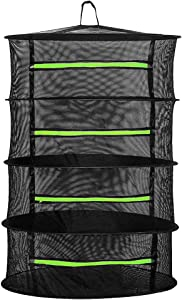 Herb Drying Rack, 4-Layer 2ft Hanging Mesh Dry Net with Zipper, Hook and Garden Scissors for Herbs, Fruits, Flowers, Vegetables, Plants, Fishes, Clothes, Nuts, etc.