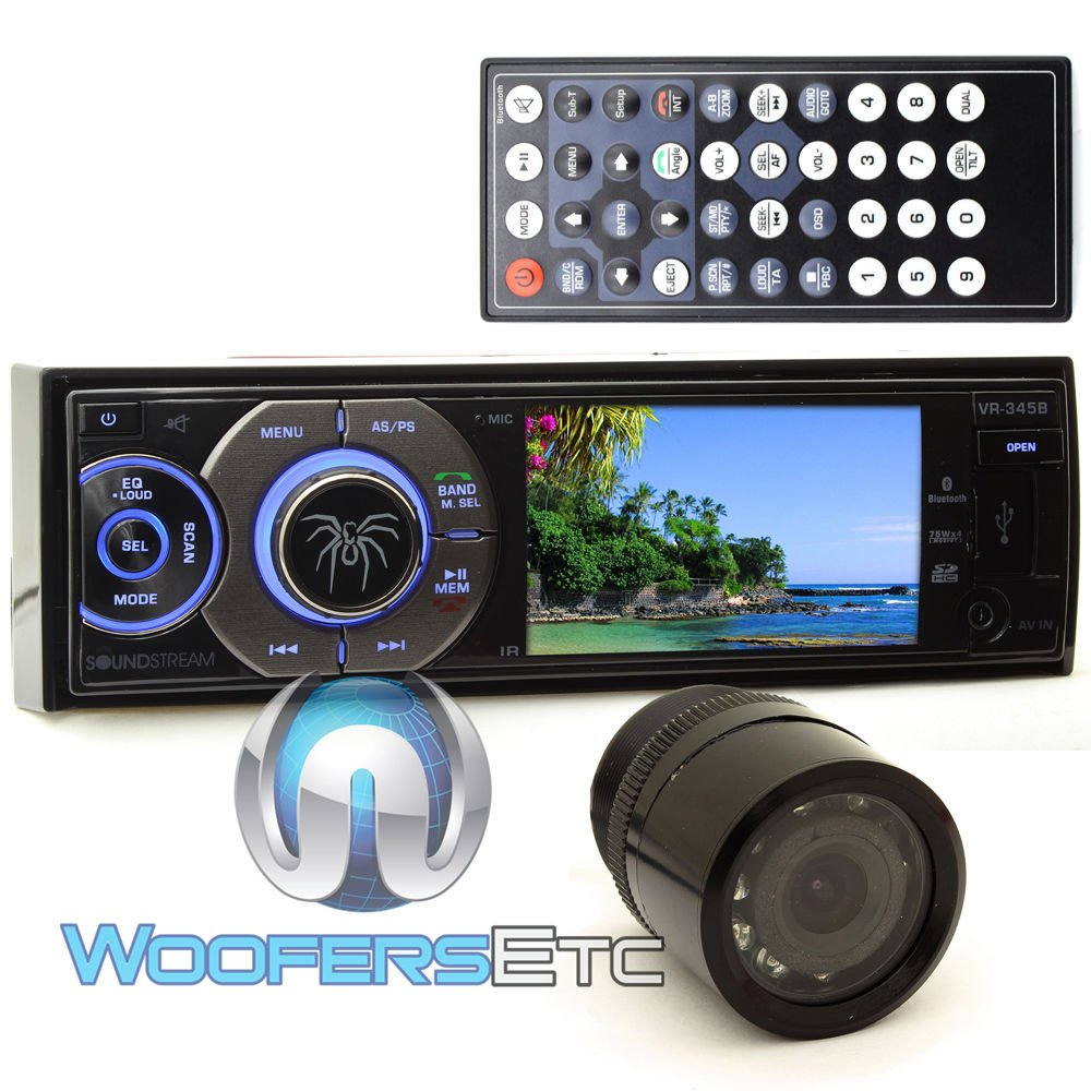pkg Soundstream VR-345B In-Dash 1-DIN 3.4'' LCD Screen DVD Stereo Receiver with XO Vision Backup Camera with Nightvision