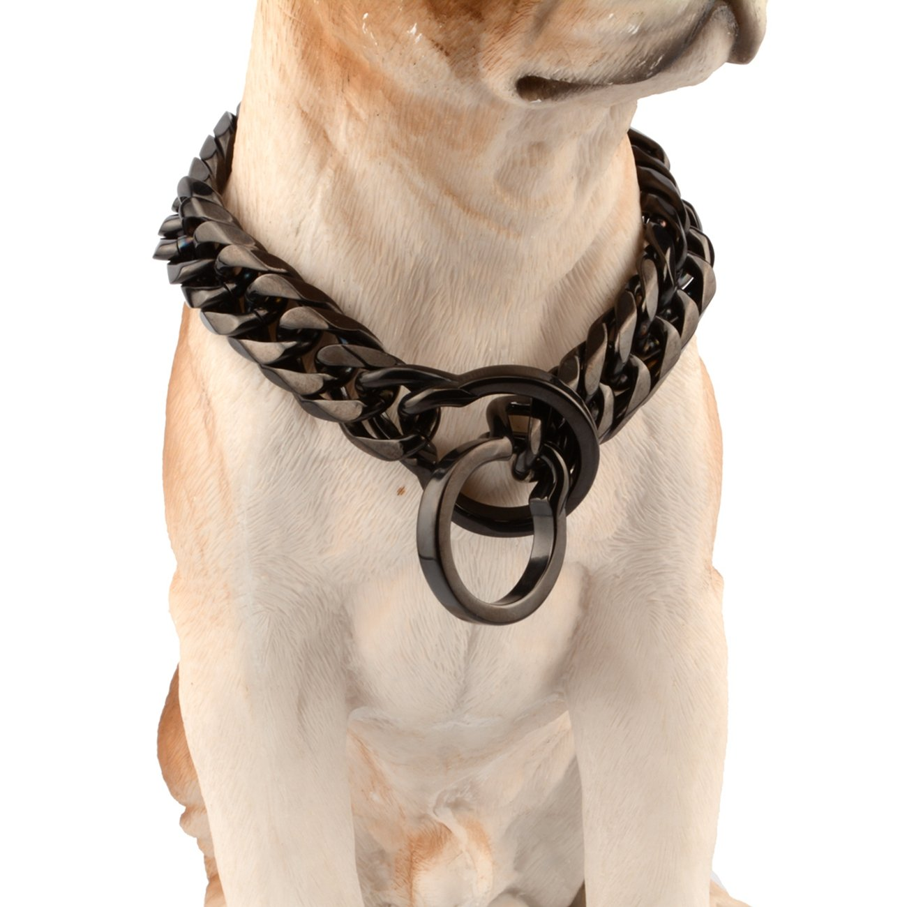14inch recommend dog's neck 10inch Innovative jewelry 16mm Black Solid Stainless Steel Pet Dog Choke Chain Collar Pit Bull,Bulldog, Big Breeds 14-34inches(14 )
