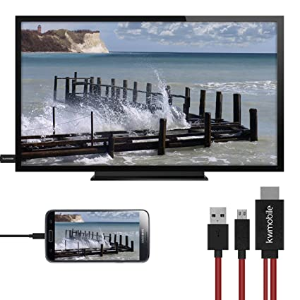 kwmobile Cable Adaptador MHL 1.8 M - Adaptador MicroUSB a HDMI para móvil y Tablet - Cable de 5 Pines para conectar móvil a TV en Rojo