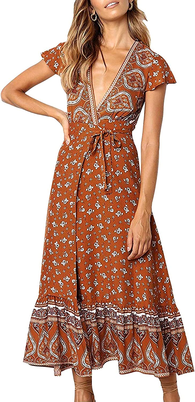 70s Clothes | Hippie Clothes & Outfits ZESICA Womens Bohemian Floral Printed Wrap V Neck Short Sleeve Split Beach Party Maxi Dress $36.99 AT vintagedancer.com