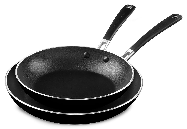 "KitchenAid M KC2A10TPOB Aluminum Nonstick 10"" and 12"" Skillets Twin Pack-Onyx Black, Medium"
