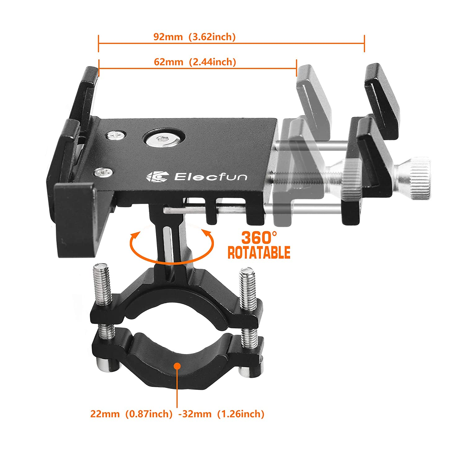 Galaxy S9//S9 Plus 360/° Rotatable Universal Bicycle Phone Holder 7 Adjustable for Phone XR ELECFUN Bike Motorcycle Phone Mount 6//6s Plus Holds all 2.4-3.7 Wide Phones XS Max//8//8 Plus