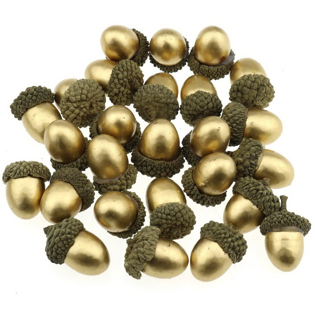Gresorth 50 PCS Gold Artificial Acorn Fake Golden Acorns DIY Craft Material Home Party Christmas Decoration