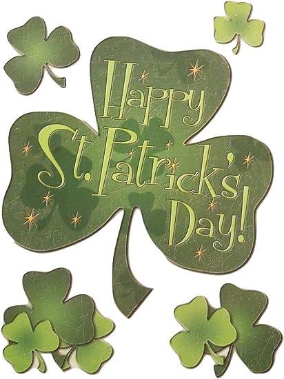 St Patrick/'s Day Window Clings HAPPY ST PATRICK/'S DAY Pot of Gold /& Shamrocks