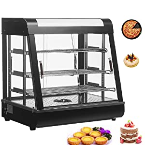Nurxiovo 27'' Countertop Food Warmer Commercial Display Case Stainless Steel Hot Pastry for Restaurant Heated Cabinet Pizza Empanda Patty 3 Tier