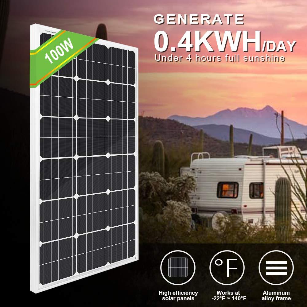 roulotte casa ECO-WORTHY 100Watts pannello solare monocristallino da 12Volt applicabile per camper backup del sistema di energia solare off grid capannone barche