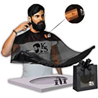 Kames Skoss - Tablier de barbe - Bavoir à barbe pour homme transparent de qualité supérieur et sa poche de rangement pour peigne en bois double au Bois de Santal et son sac de voyage inclus