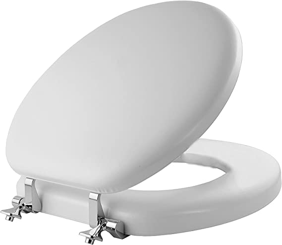 Mayfair 13cp 000 Soft Toilet Seat With Molded Wood Core And Classic Chrome Metal Hinges 1 Pack Round White Cushioned Toilet Seat