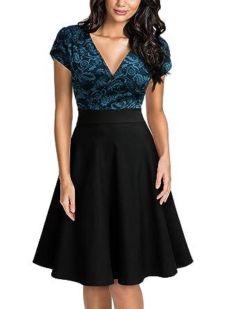 Miusol Damen A-Linie Vintage 50er Rockabilly Party Kleid ...