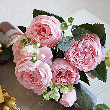 Christmas Wedding Bouquets Uk.Dwe 5 Heads Artificial Flower Fake Silk Peony Bridal Bouquet Christmas Wedding Party Home Decorative B Pink