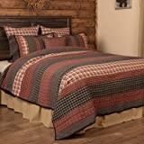 VHC Brands Beckham Twin Quilt 68Wx86L Country Rustic Patchwork Design, Rust Red and Tan